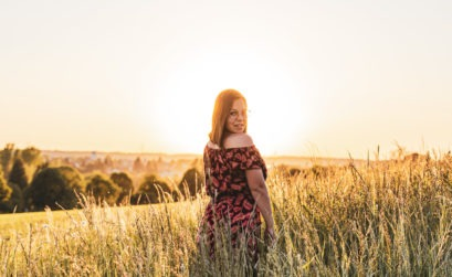 Sunset Girl in the Grassland